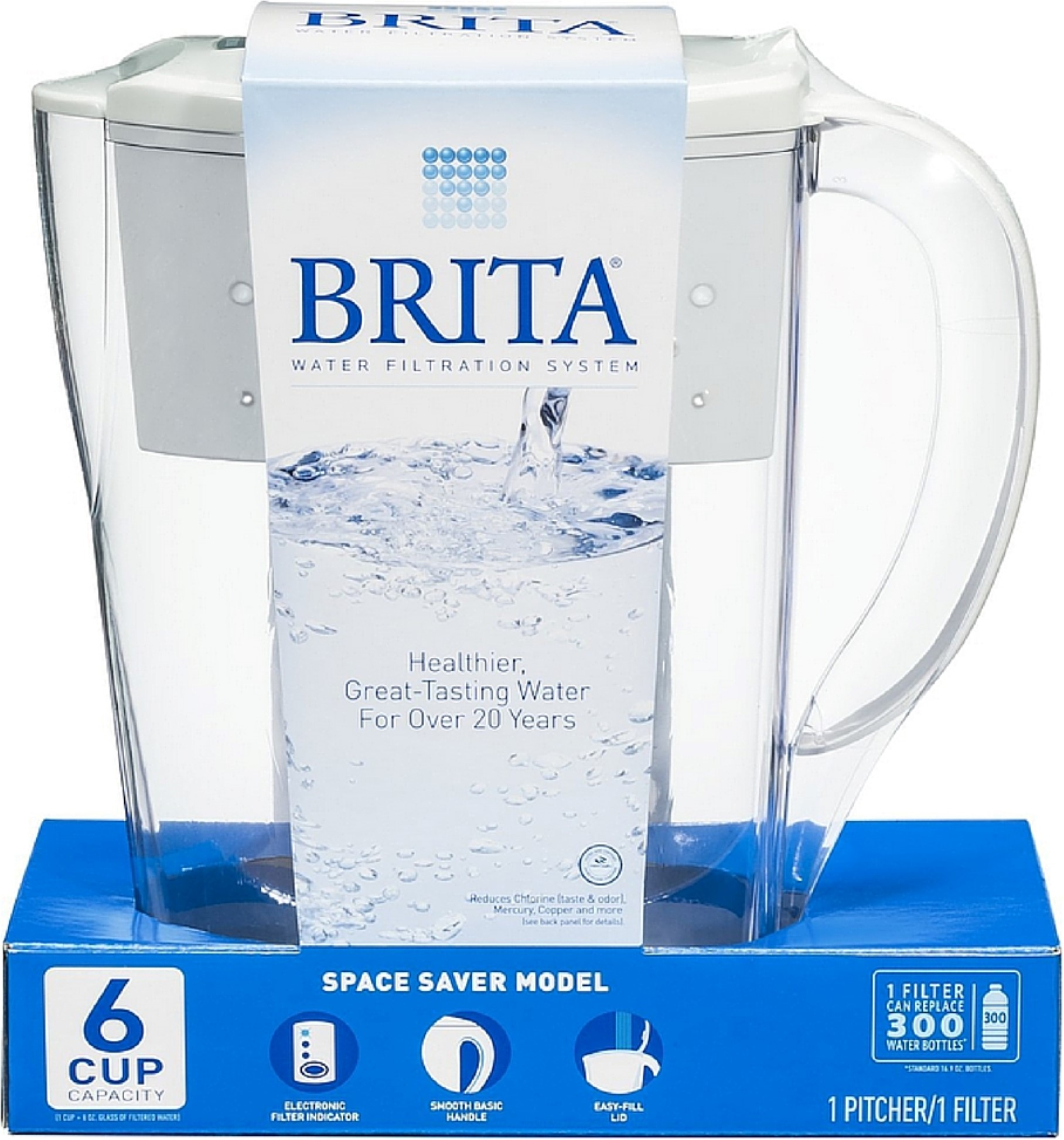 Brita Space Saver 48 oz Water Filter Pitcher, White 1 ea