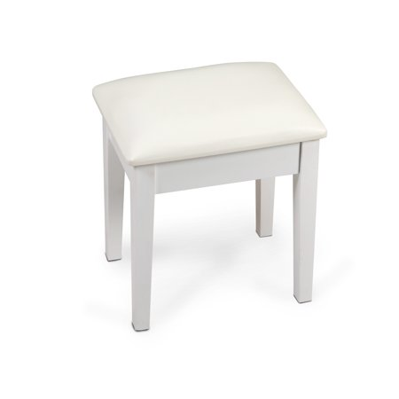 Organizedlife White Vanity Stool Dressing With Cushion For Table