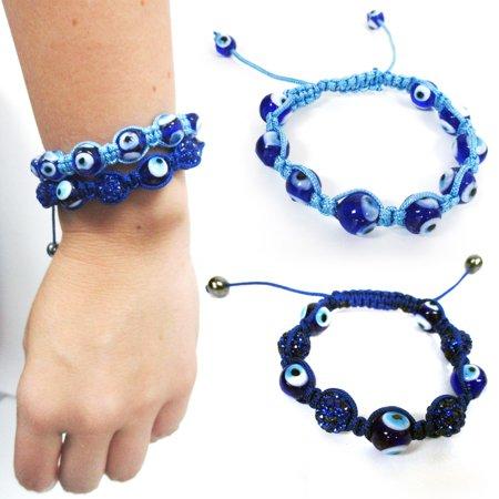 2 Evil Eye Beaded Bracelet Adjustable Macrame Good Luck Protection Crystal Hamsa (Crystal Bead Bracelets)