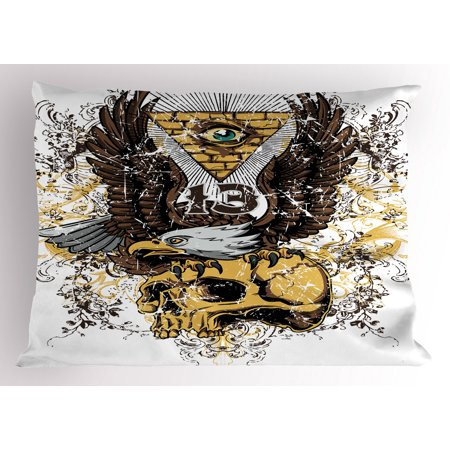 Tattoo Pillow Sham American Eagle Wings Wide Open Top of Skull Carrying Brick Wall with Eye Print, Decorative Standard Size Printed Pillowcase, 26 X 20 Inches, Brown and White, by