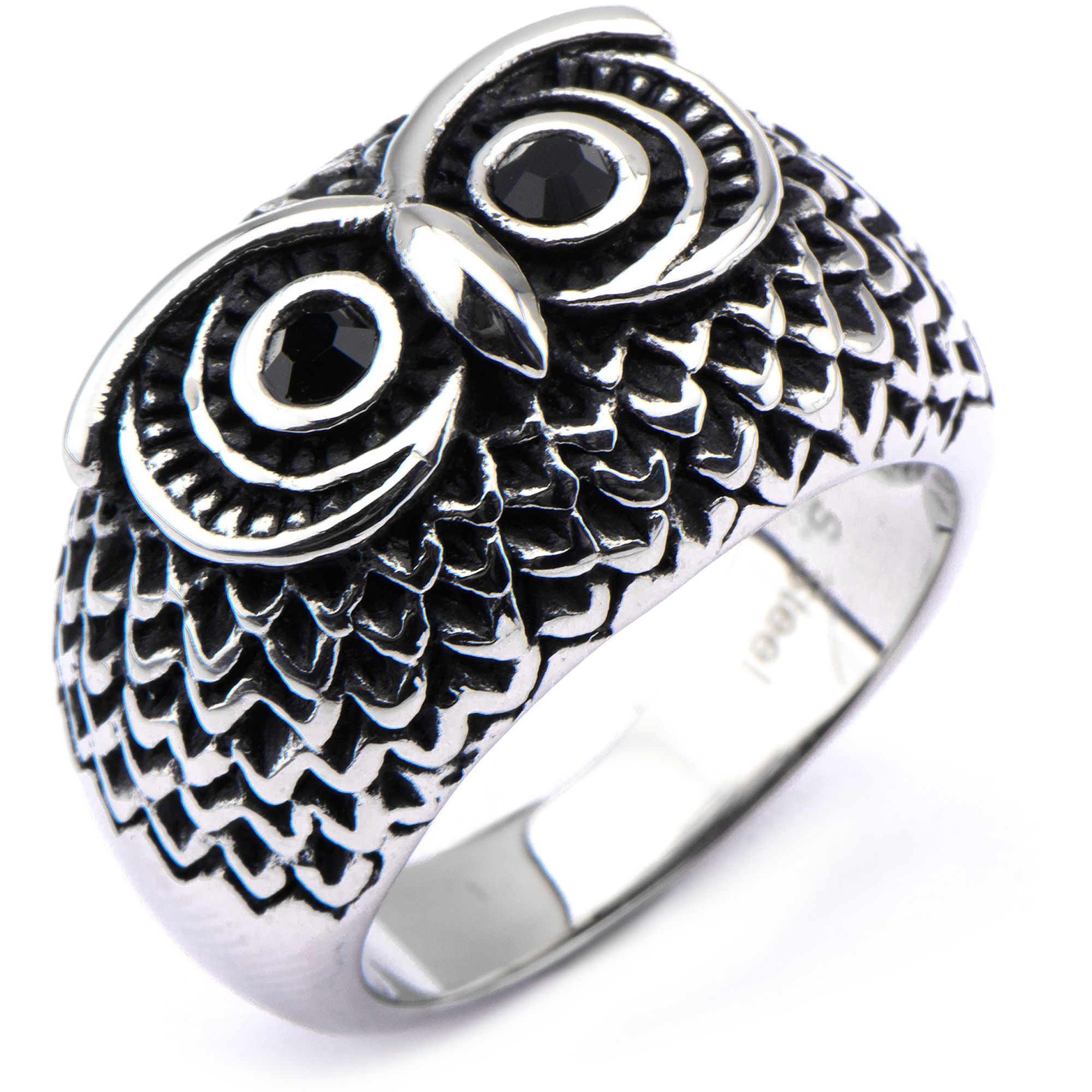 Steel Art Stainless Steel Black Owl Ring, Size 8