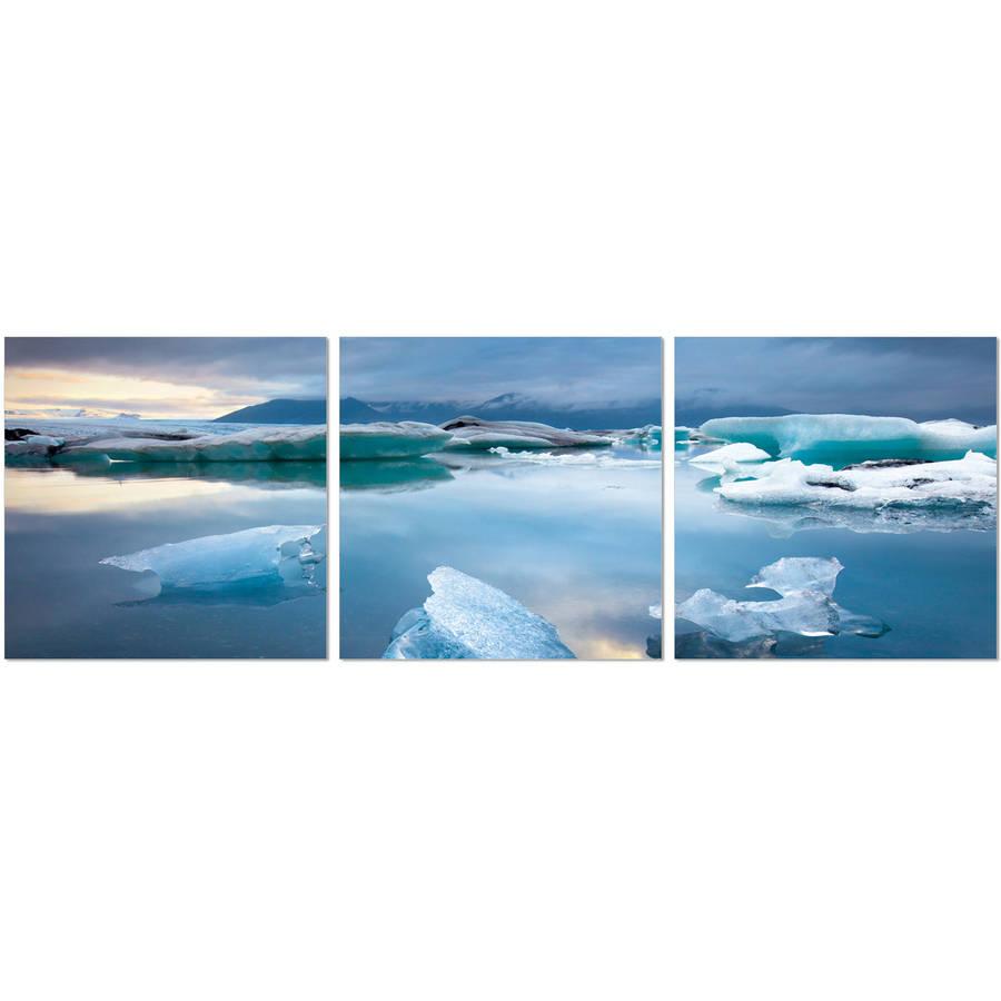 "Furinno SeniA Jokulsarlon Glacier Lagoon 3-Panel MDF Framed Photography Triptych Print, 48"" x 16"""