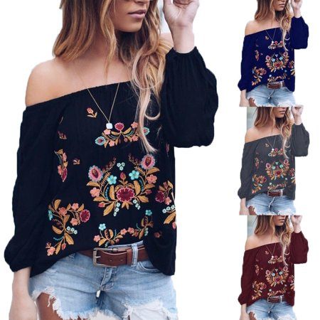 Women's Fashion Off Shoulder Long Sleeve Vintage Floral Print Tops Blouses T-Shirts Plus