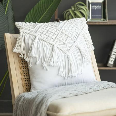 Phantoscope 100% Cotton Handmade Crochet Woven Boho with Tassels Series Half Covered Throw Pillow, 18