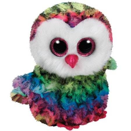 Owen Rainbow Owl Beanie Boo Medium 13 inch - Stuffed Animal by Ty (37143)
