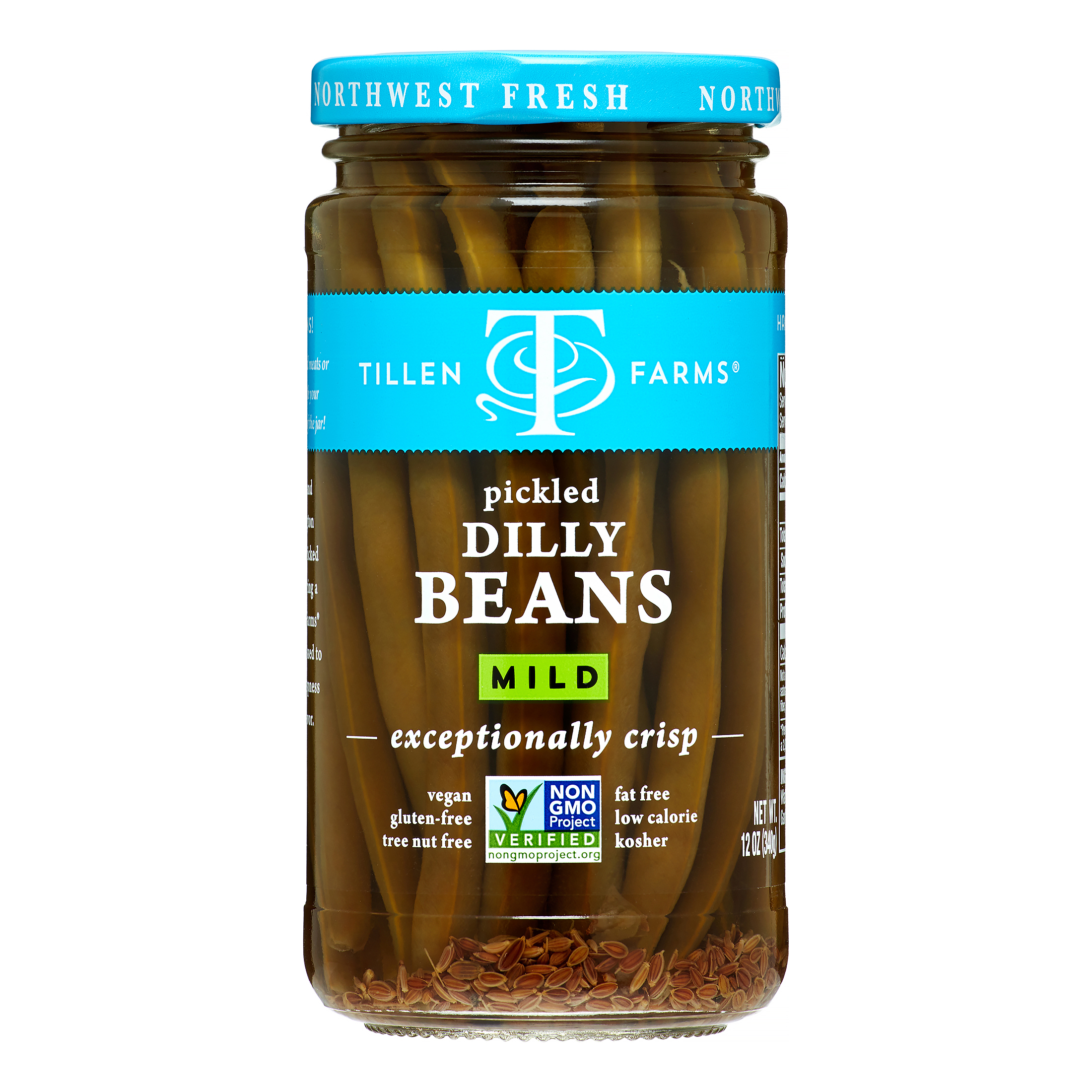 Tillen Farms Crispy Pickled Dilly Beans, Extra Mild, 12 Oz