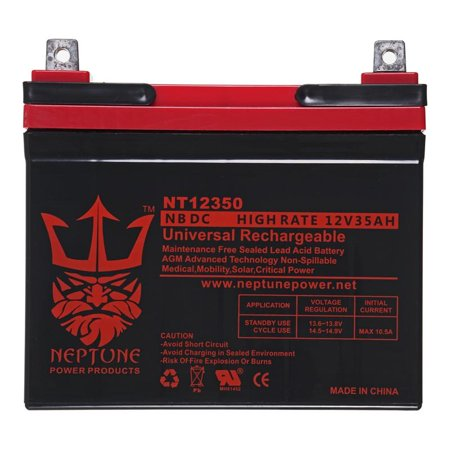 Grass Hopper 600 Series 12V 35Ah SLA Replacement Lawn mower Battery by Neptune Series 56 Center Flow Hoppers