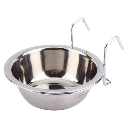 EECOO Pet Stainless Steel Cage Bowl Hanger Stainless Steel Dog Bowl, Rabbit Bird Cat Dog Food Water Cage Cup Crate Cup with Clamp Holder, L