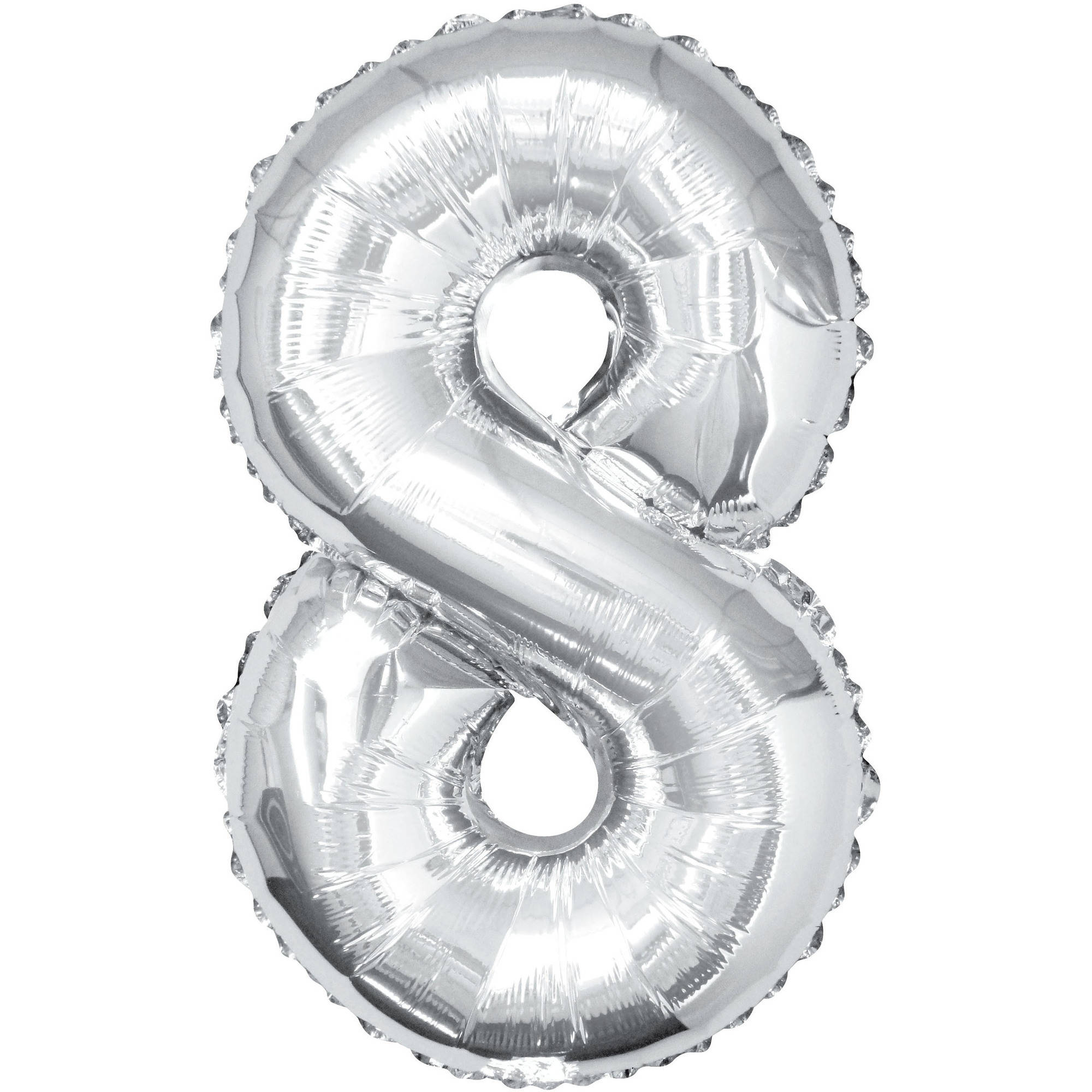 Foil Big Number Balloon, 8, 34 in, Silver, 1ct