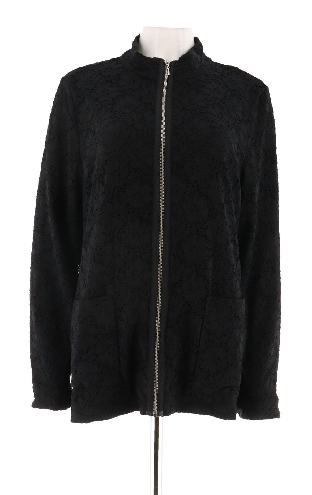 Denim/& Co Comfy Knit Denim Zip-Front Jean Jacket Bleach Wash 1X NEW A349249