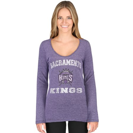 Sacramento Kings 5th & Ocean by New Era Women's Tri-Blend Long Sleeve Glitter Logo Scoop Neck T-Shirt - Purple (Sacramento Kings Halloween)