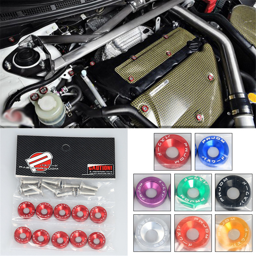 JDM Car Modification M6 Washer Screw Battery Guard Washer Fender License Plate Frame Screw Decoration Red