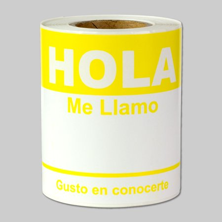 Yellow Hola Me Llamo Gusto En Conocerte Labels   Yellow Spanish Name Tag Identification Stickers  White Yellow   4  X 2 31     100 Labels Per Package