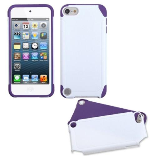 Insten White/Electric Purple Frosted Fusion Case for iPod touch (5 5G 5th 6 6G 6th Gen)