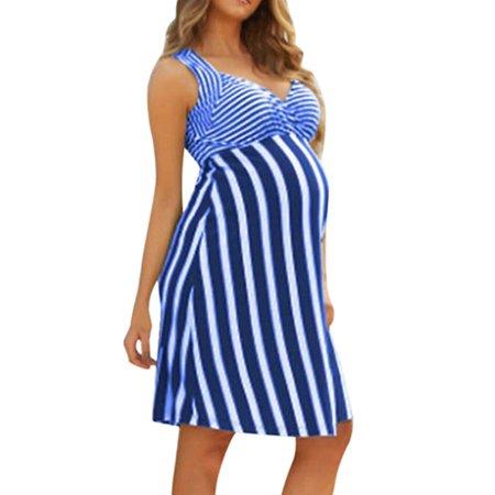 Jchiup Maternity Summer Chic Sleeveless Stripe One & Done Dress