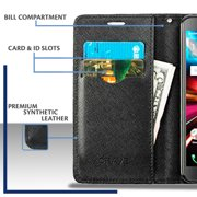 Alcatel Pulsemix Wallet Case - Silhouette Firefighter on Black Case