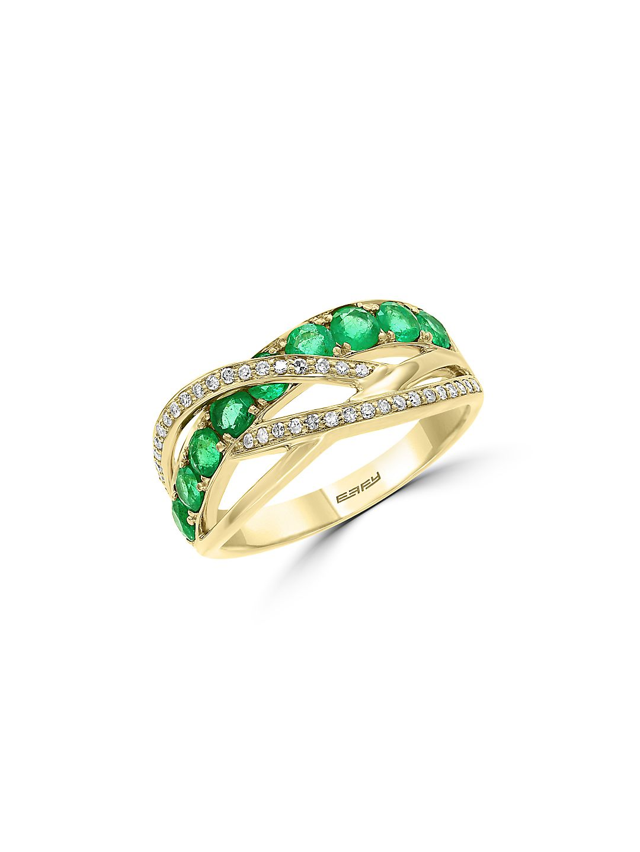 White Diamond, Emerald, and 14K Yellow Gold Ring