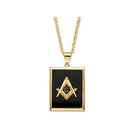 - Men's Emerald-Cut Genuine Black Onyx 14k Gold-Plated Masonic Square and Compasses Pendant Necklace 22