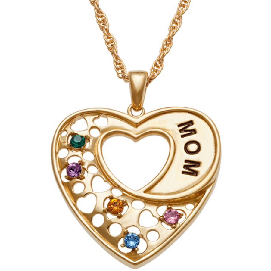 Personalized Gold-Plated MOM Heart Birthstone Pendant