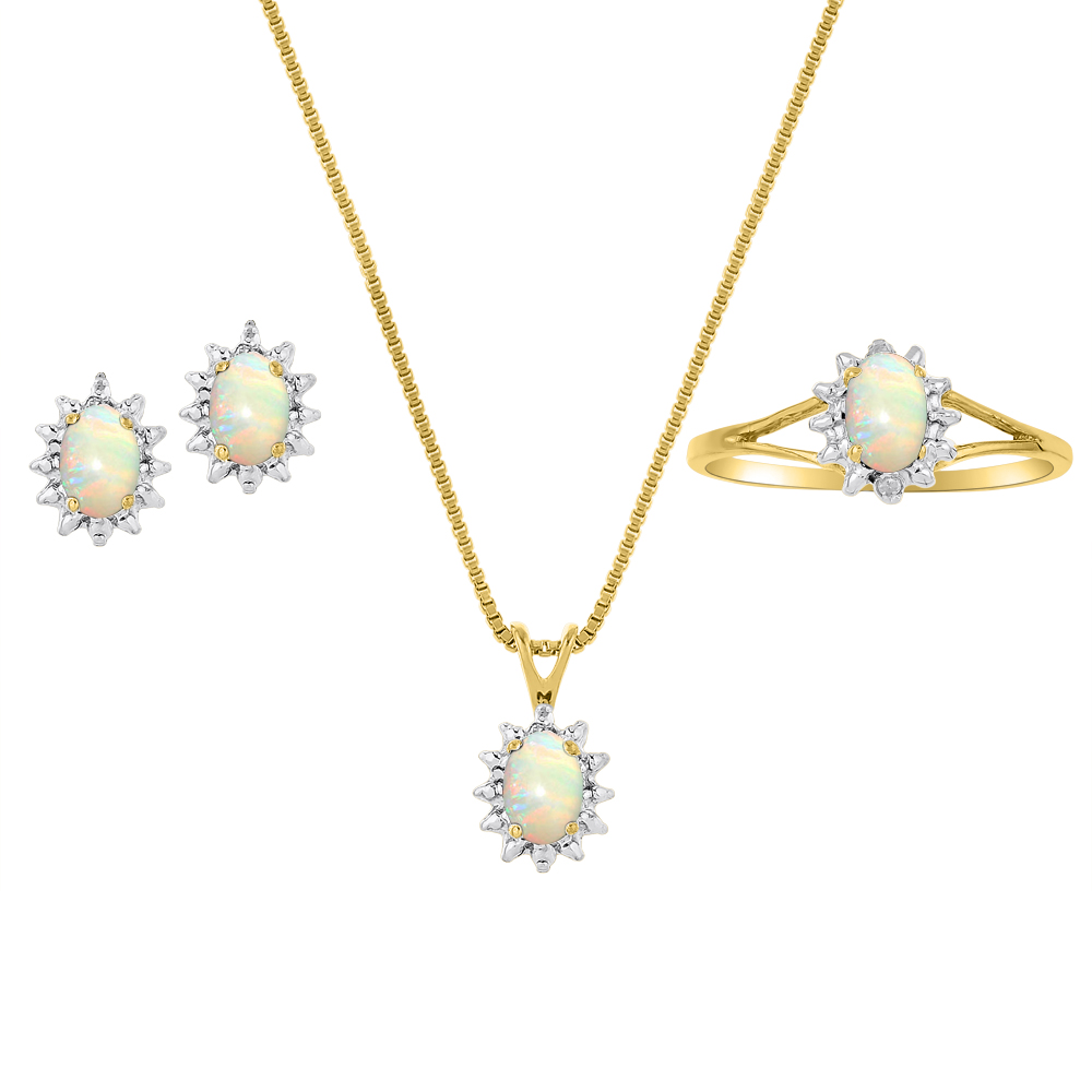 Genuine Natural Opal & Diamond Pendant, Earrings & Ring Set in 14K Yellow Gold Plated silver with Chain and Gift Box by