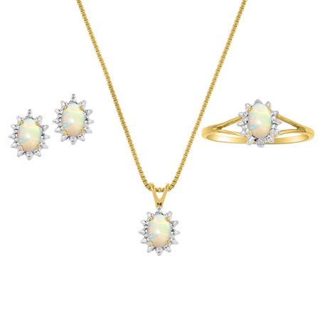 - Genuine Natural Opal & Diamond Pendant, Earrings & Ring Set in 14K Yellow Gold Plated silver with Chain and Gift Box