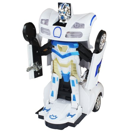 Bump and Go Battery Operated Transforming Action Police Car Transforming Robot / White Bugatti