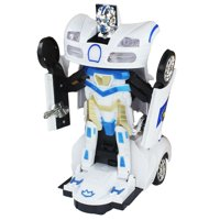 Bump and Go Battery Operated Transforming Action Police Car Transforming Robot / White Bugatti Supercar.