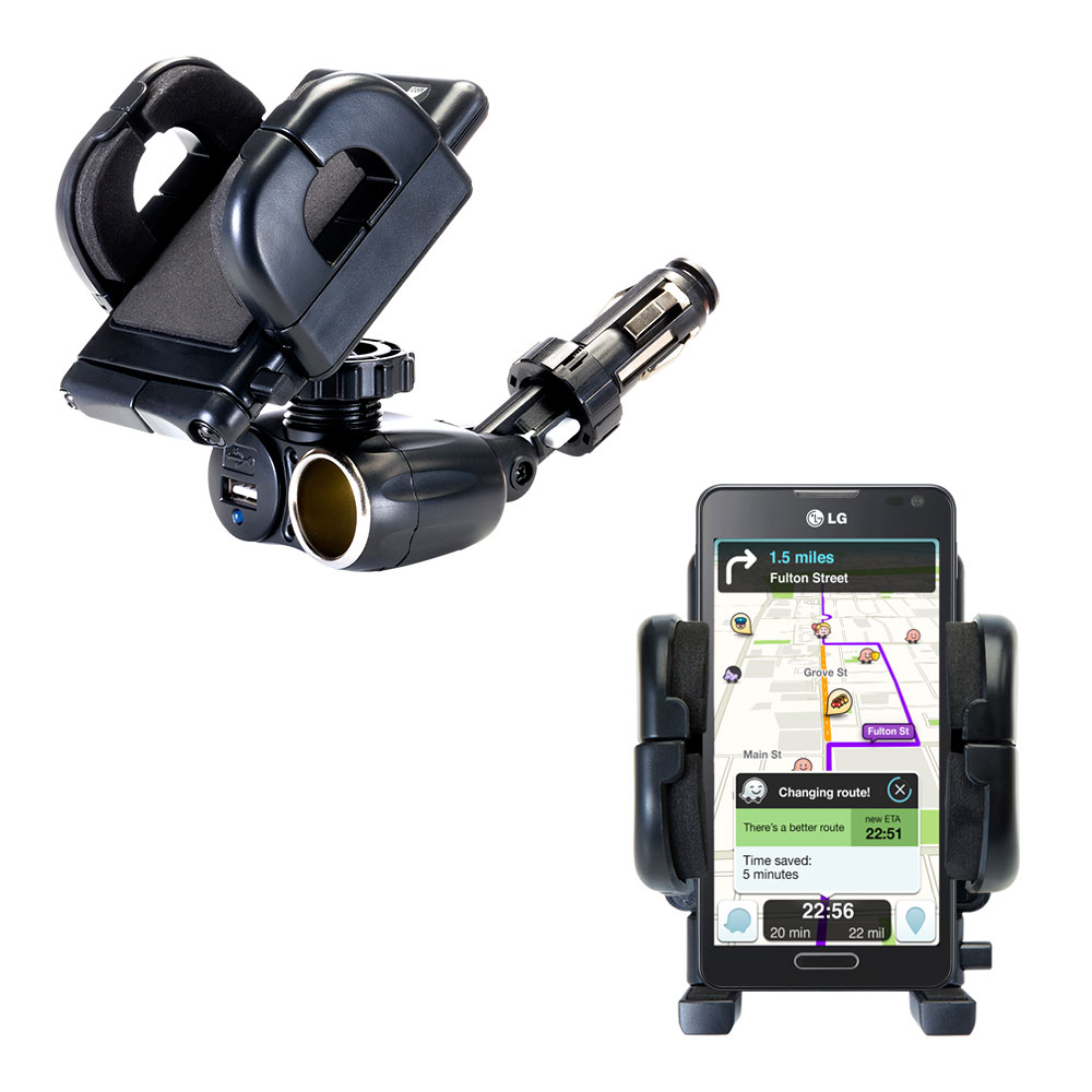 Dual USB / 12V Charger Car Cigarette Lighter Mount and Holder for the LG Optimus F6
