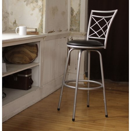 Terrific Roundhill Halfy Round Seat Bar Counter Height Adjustable Metal Silver Bar Stool Squirreltailoven Fun Painted Chair Ideas Images Squirreltailovenorg