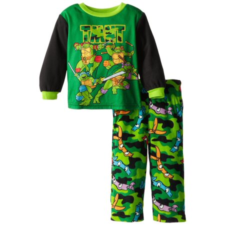 Teenage Mutant Ninja Turtles Little Boys' Camo Masks Cozy Fleece Pajama Set, Multicolor, Size: 3T (Boys Camo Pajamas)