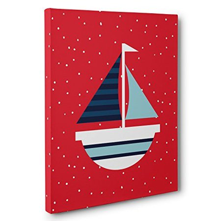 Nautical Red and Blue Sailboat Nursery Canvas Wall Art