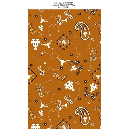 Texas Longhorns Fabric (University of Texas Bandana print on 100% Cotton Broadcloth-Sold by the Yard)