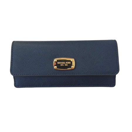 Michael Kors Jet Set Travel Flat Wallet in Navy Saffiano Leather with Golden