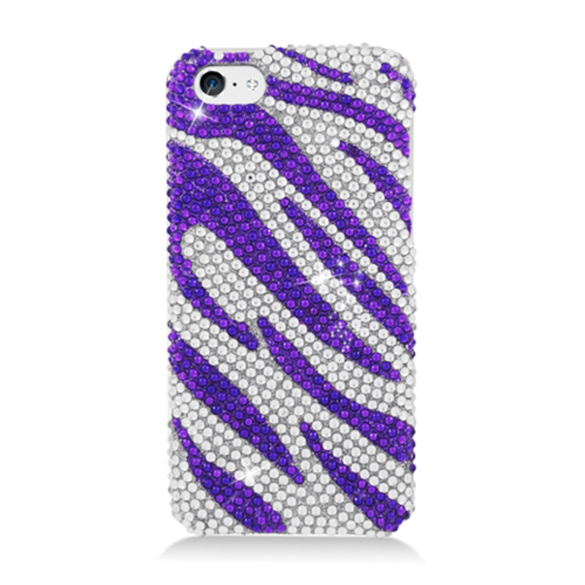 iPhone 5C Case, by Insten Zebra Rhinestone Diamond Bling Hard Snap-in Case Cover For Apple iPhone 5C