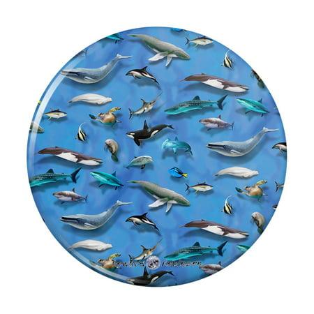 Ocean Life Whale Dolphin Manatee Shark Pattern Kitchen Refrigerator Locker Button Magnet Pattern Shank Buttons