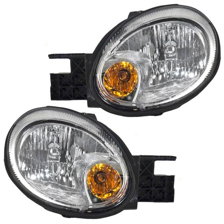 Driver and Passenger Headlights Headlamps with Chrome Bezels Replacement for Dodge Neon 5303551AI 5303550AI, Meets all OE specifications, with DOT.., By AUTOANDART
