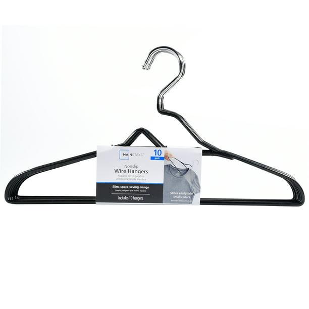 Mainstays Nonslip Hangers Pack Of 10 Black Walmart Com Walmart Com