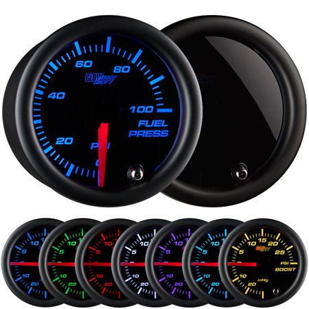 - GlowShift Tinted 7 Color 100psi Fuel Pressure Gauge