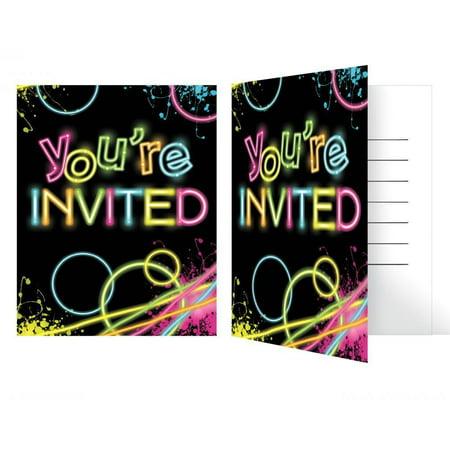 Creative Converting Glow Party Invitation Foldover, 8 ct
