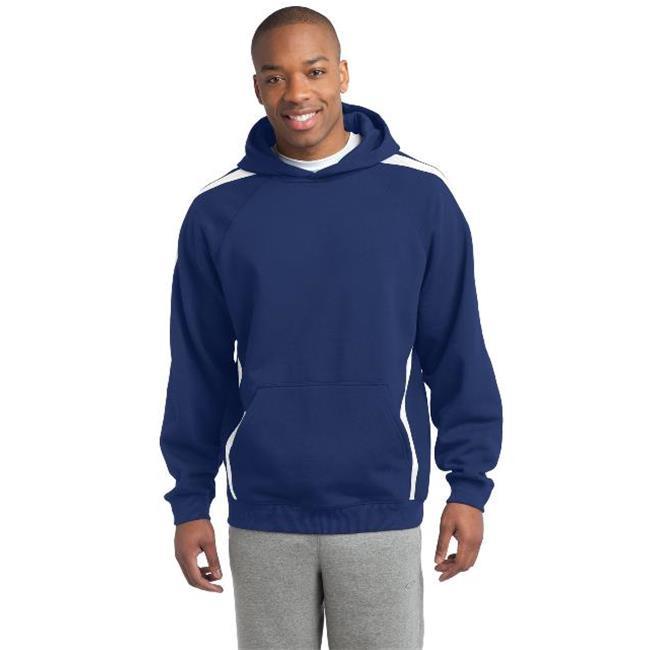 Sport-Tek® Sleeve Stripe Pullover Hooded Sweatshirt. St265 True Royal/ White Xl - image 1 of 1