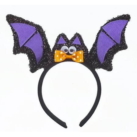 Black and Purple Winged Bat Halloween Headband - By