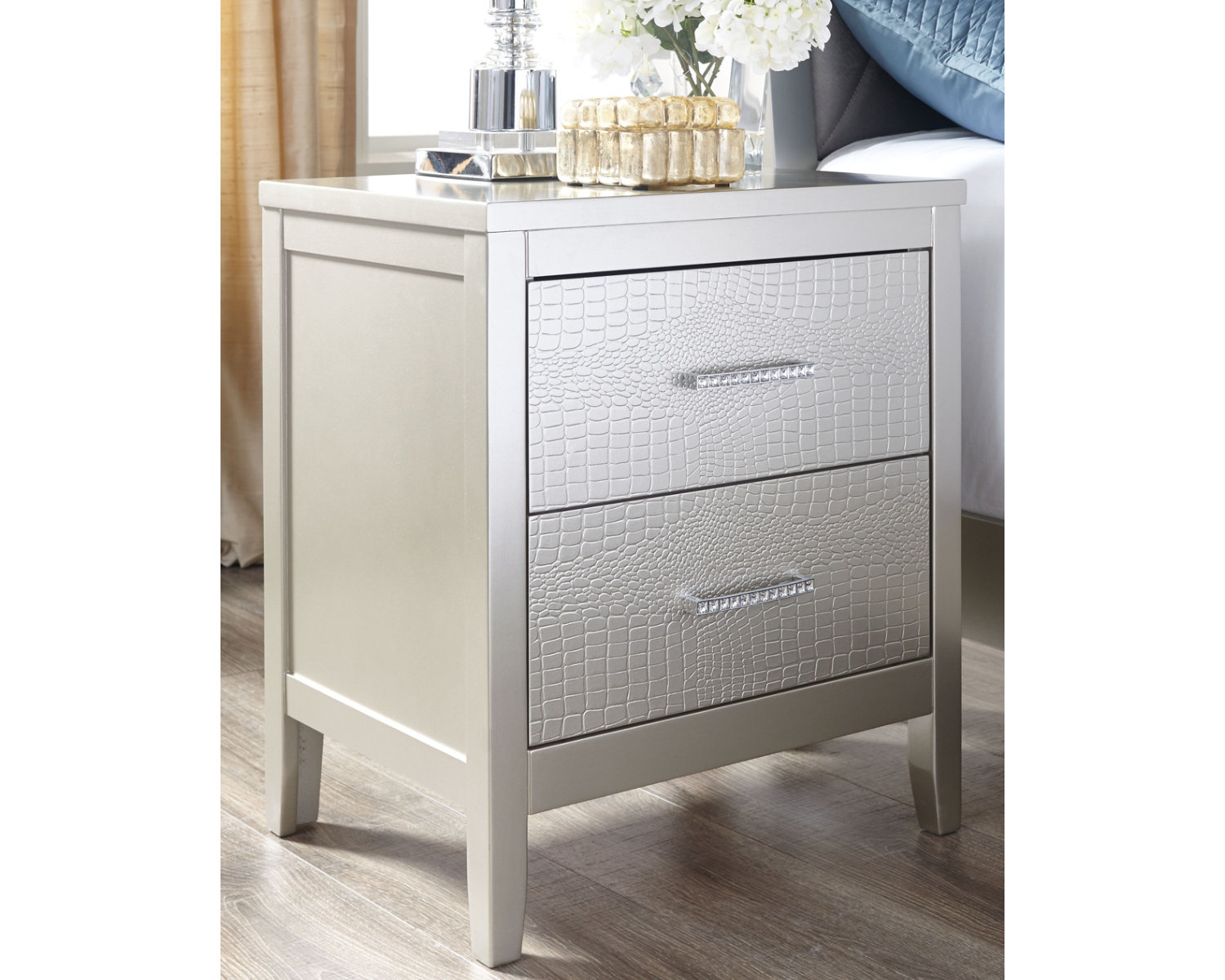 Signature Design By Ashley Olivet Silver Nightstand Walmart Com