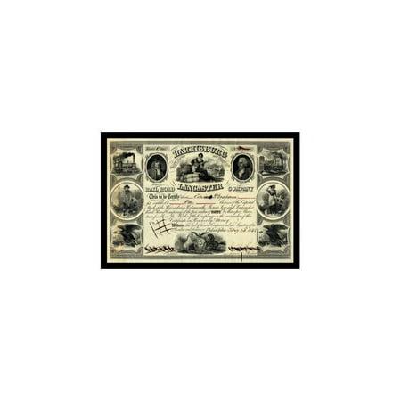Harrisburg Lancaster Railroad Company Stock Print (Unframed Paper Print (Railroad Company Stock)
