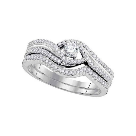 10k White Gold Round Diamond Bridal Wedding Engagement Ring Band Set 3/8 Cttw Diamond Fine Jewelry Ideal Gifts For Women Gift Set From Heart