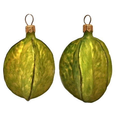 Carambola Star Fruit Polish Blown Glass Christmas Ornament Set of 2 Decorations - Polish Decorations