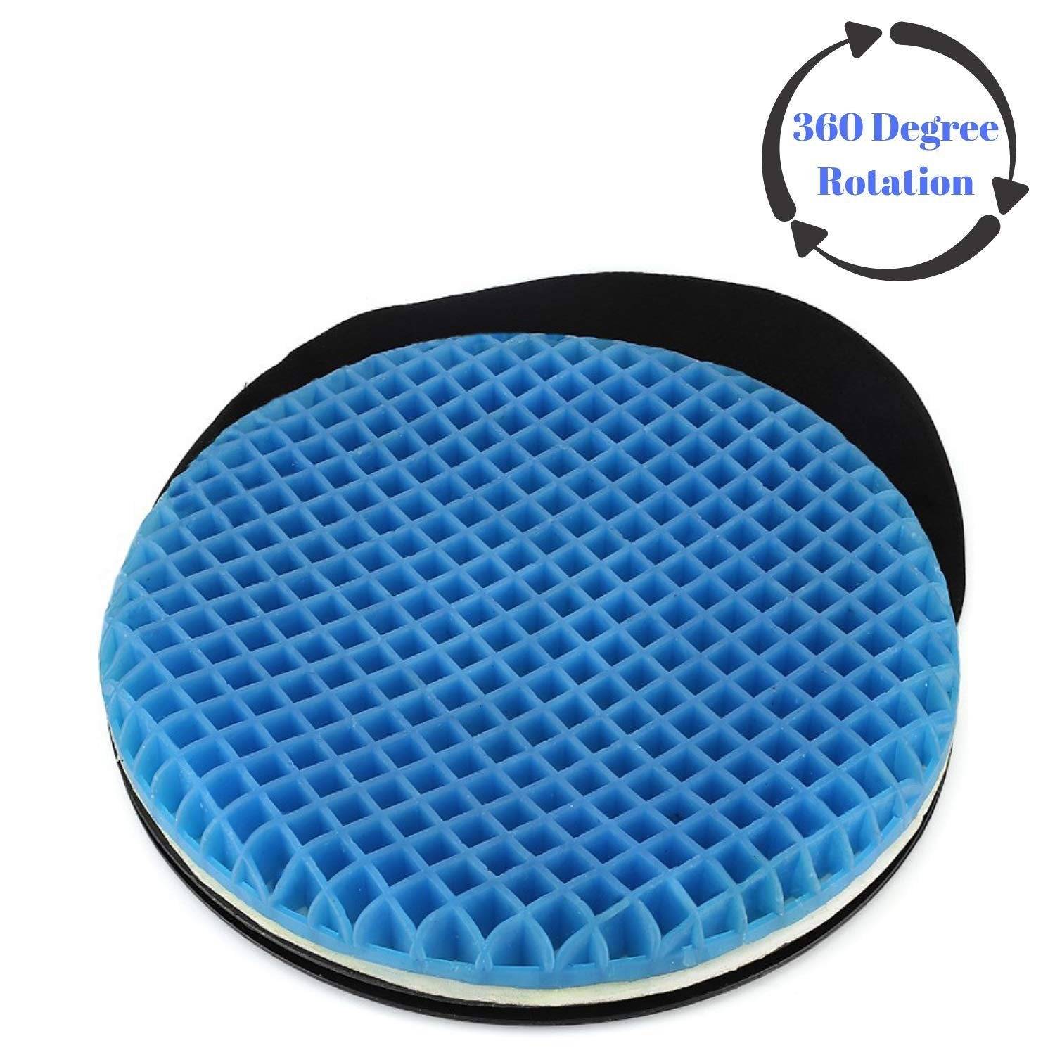 FOMI Swivel Gel Seat Cushion | 360 Degree Rotation | Thick Disc Pad for Home or Office Chair, Wheelchair | Pressure Sore Relief, Prevents Sweaty Bottom, Durable