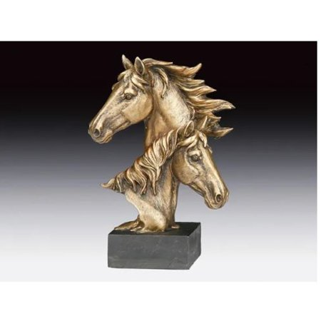 Horse Heads Bronze Color Figurine New