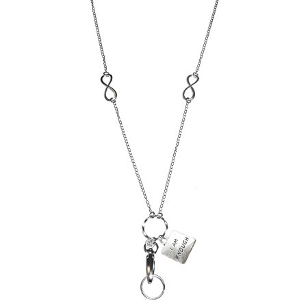 "Hidden Hollow Beads ""I Am Enough"" Charm Lanyard - Fashion Lanyards For Women - Cute Lanyard With ID Holder – Fashion Lanyard Badge Holder – Work Badge Necklace"