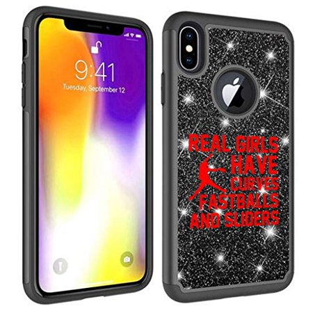 - Glitter Bling Sparkle Shockproof Protective Hard Soft Case Cover for Apple iPhone Real Girls Curves Softball (Black, for Apple iPhone X/iPhone Xs)