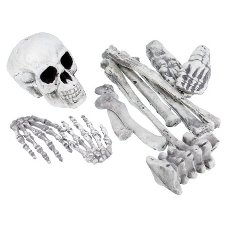 Halloween Haunters 12pc Bag of Plastic Skeleton Skull Bones Set Prop Decoration - Bag Of Bones Halloween Decoration